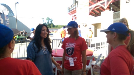 Kim Pegula, Owner of the Buffalo Bills, Madonna Walker and Kerry Atlas
